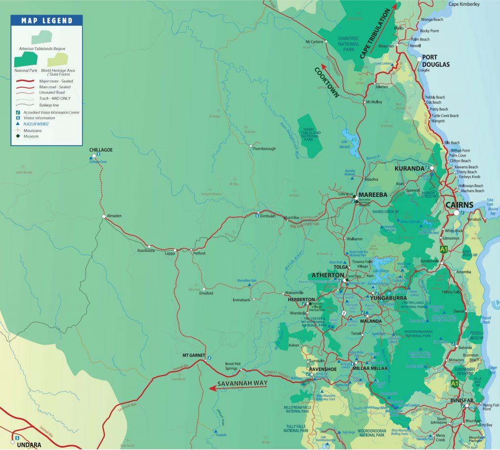 Atherton Tablelands Map