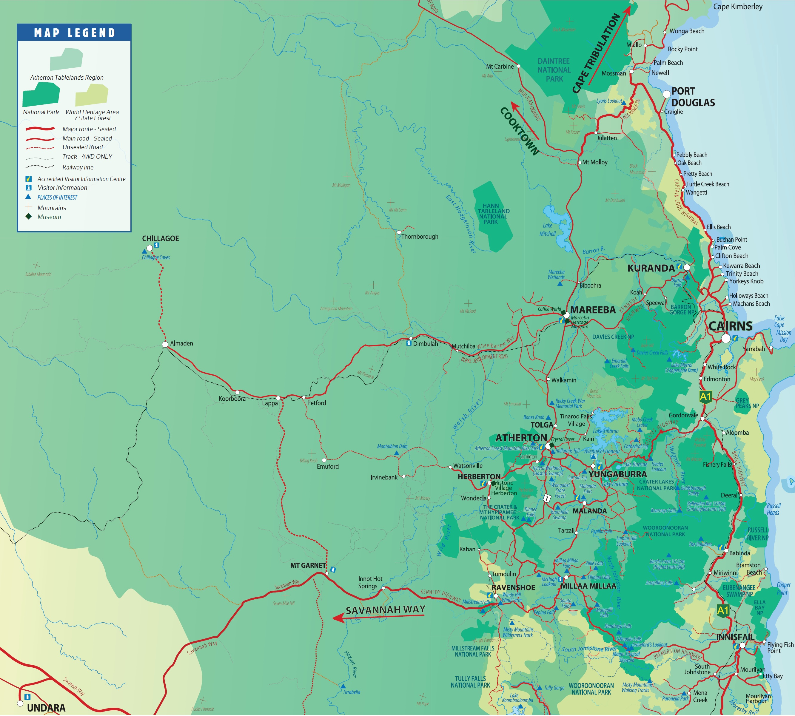 Atherton Tablelands Map