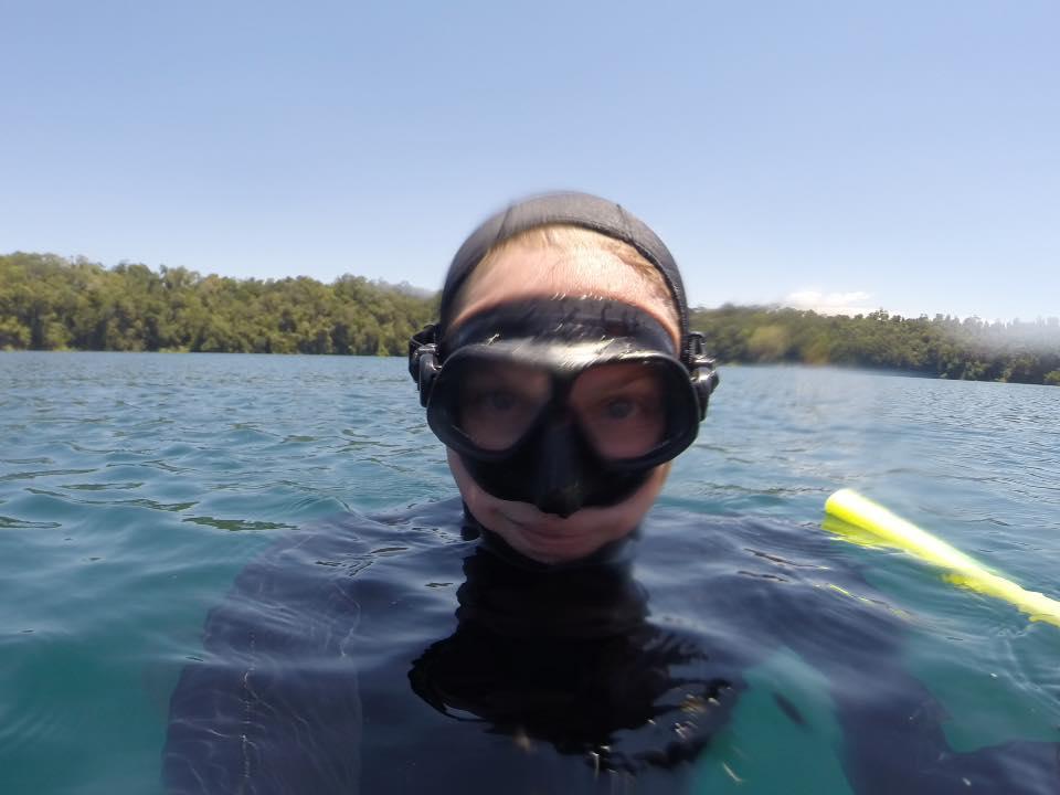 Free diving Lake Eacham - Atherton Tablelands